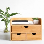 100% natural bamboo desk organizer with 3 drawers