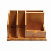 Small Bamboo Desk Organizer for Pen Holder and Notebook holder